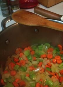 Sauteing the veggies