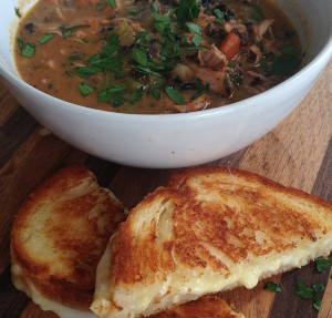 Chicken and Black Rice Stew with Grilled Cheese