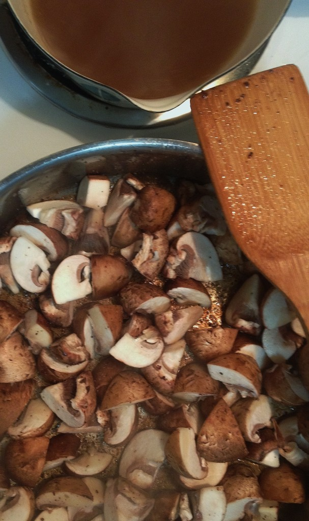 Start of the homemade cream of mushroom sauce