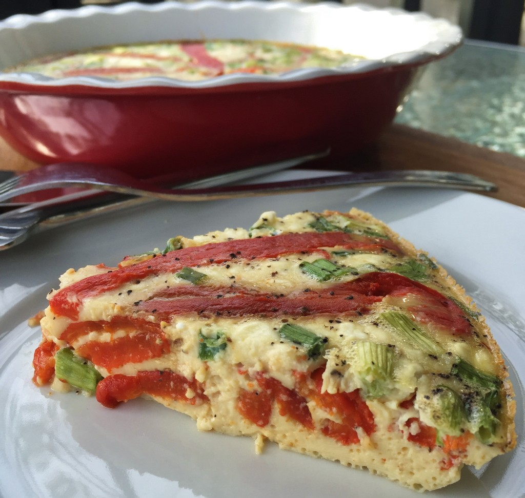 Roasted Red Pepper, Potato, and Goat Cheese Frittata
