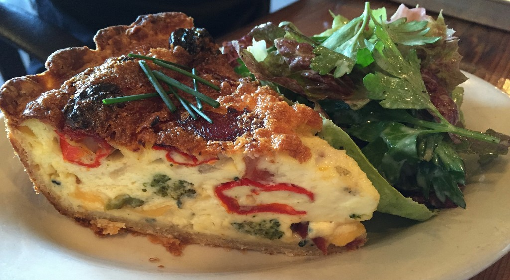 Andouille, broccoli, pepper, and cheddar quiche