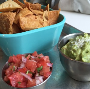 Tortilla chips, pico de gallo, and guacamole
