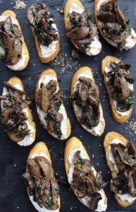 Goat Cheese, Baby Bella, and Garlic Crostinis