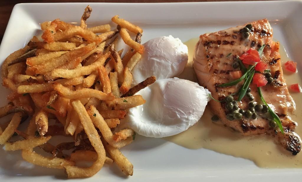 Salmon, beurre blanc, potatoes, and eggs
