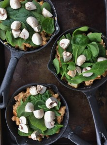 spinach and mushroom on top