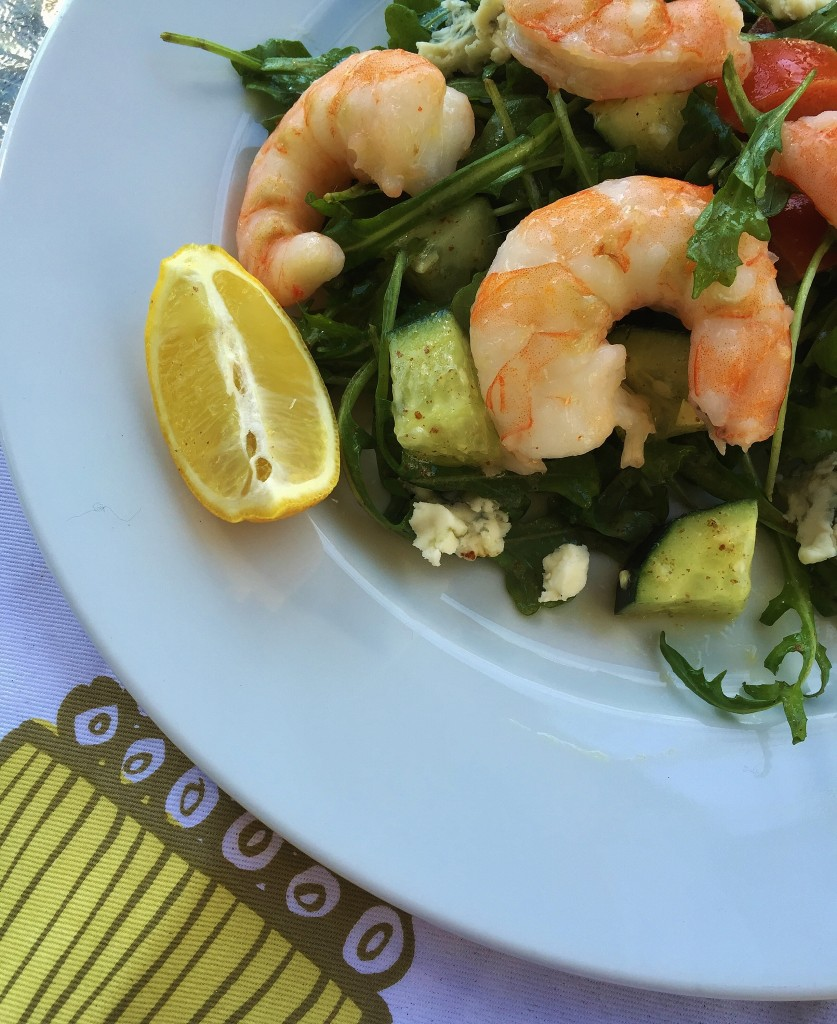 Roasted Shrimp Salad with Blue Cheese and Arugula