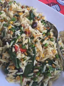 Pea, Corn, and Roasted Red Pepper Orzo Salad