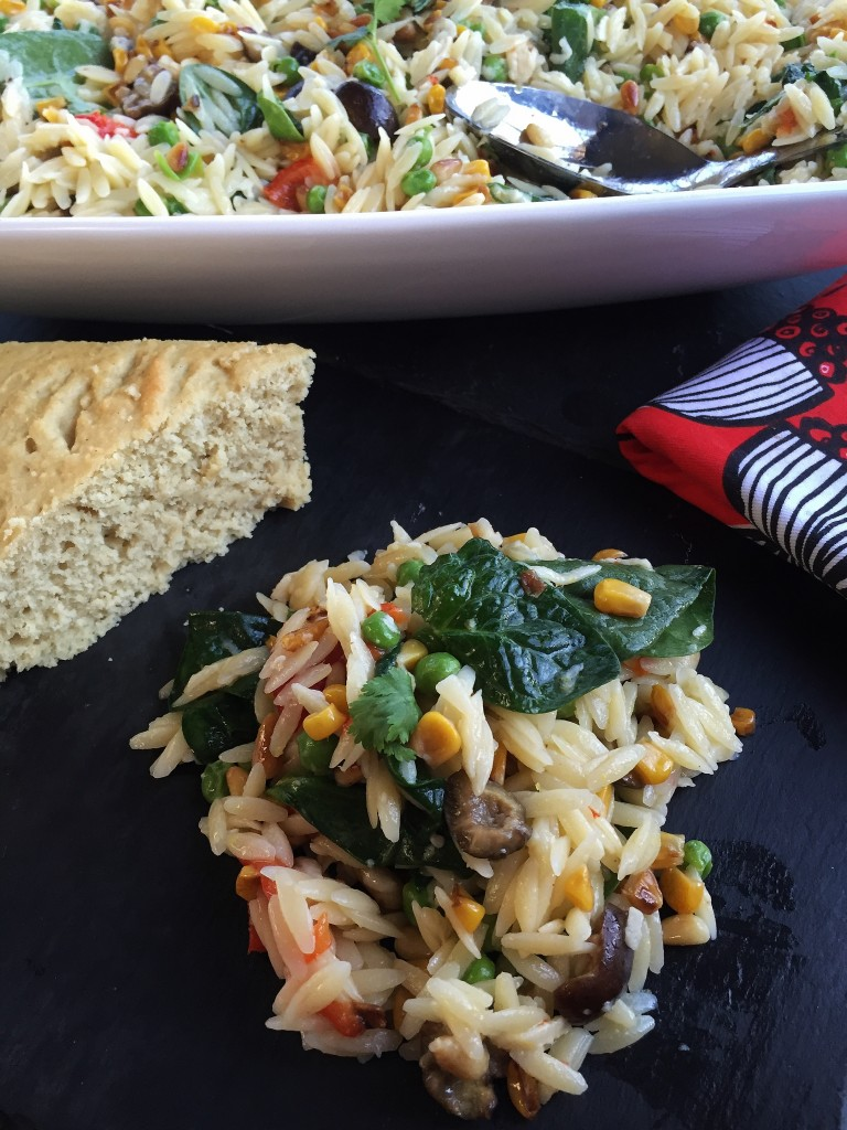 Orzo Salad with a side of cornbread