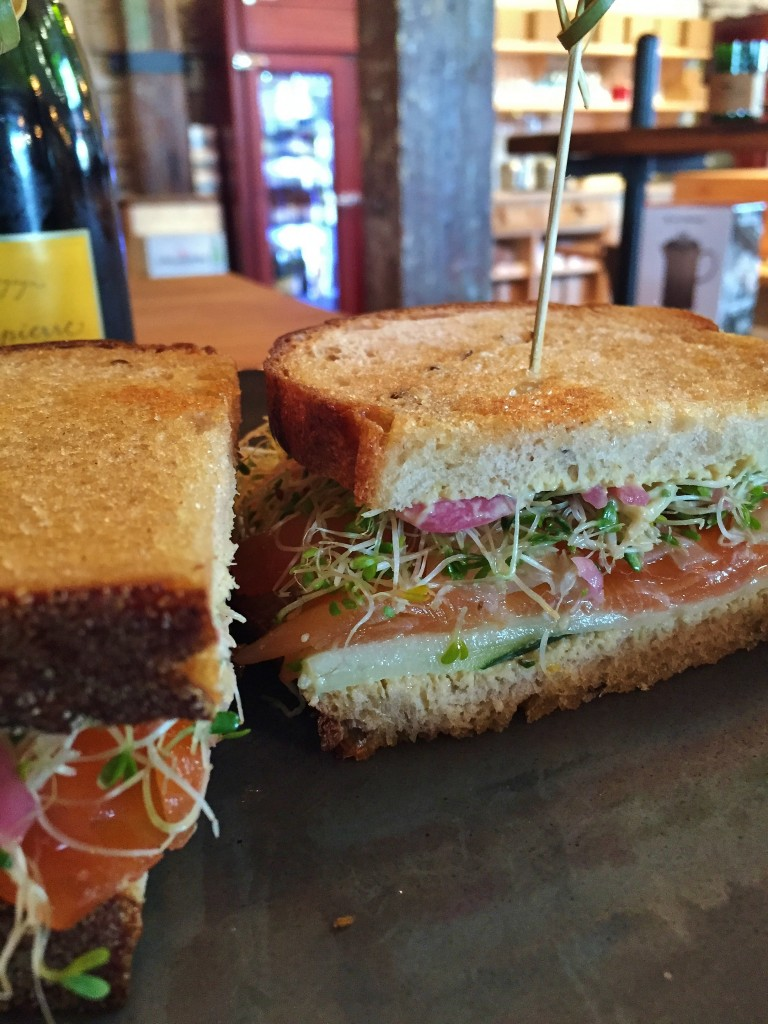 Pastrami Cured Salmon Sandwich