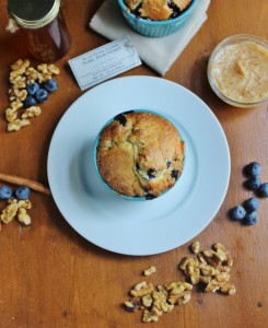 Blueberry Walnut Breakfast Cake with Cinnamon Honey Butter