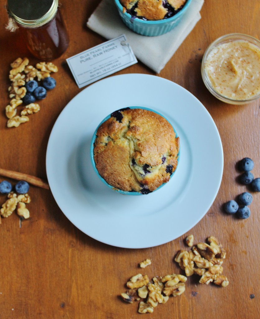 Blueberry Walnut Breakfast Cake with Cinnamon Honey Butter
