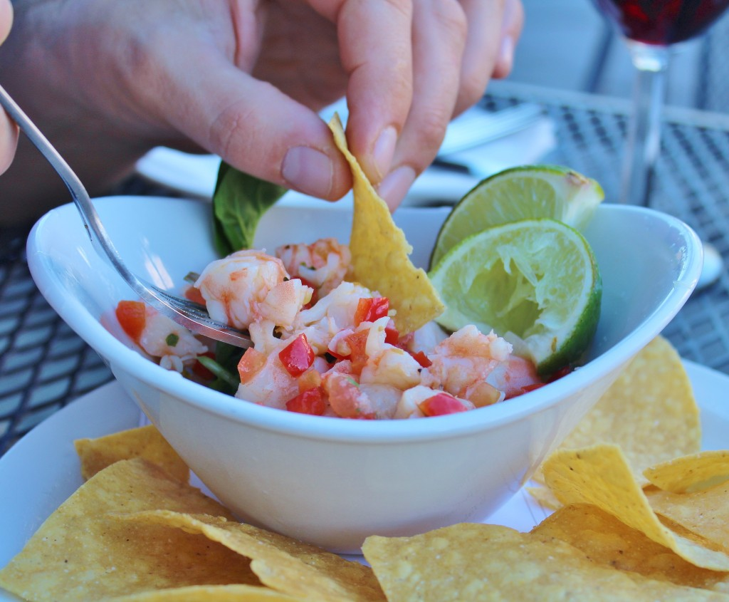 shrimp ceviche with crunchy tortilla chips