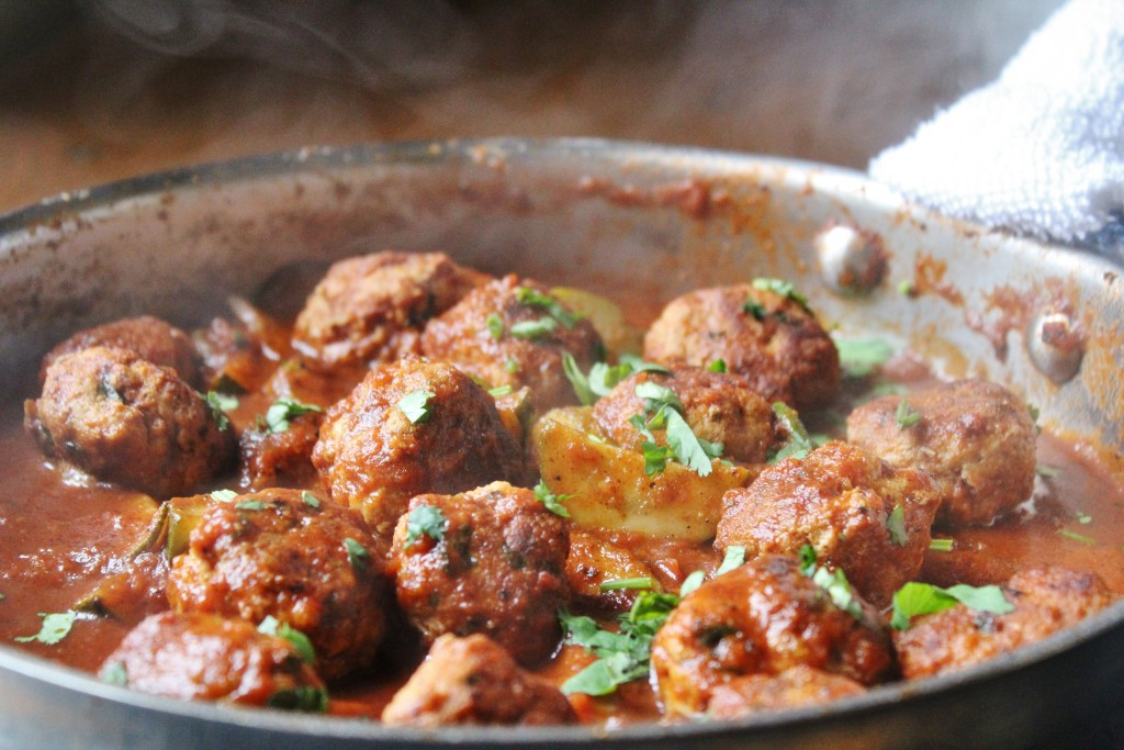 braised turkey meatballs waiting for their cauliflower