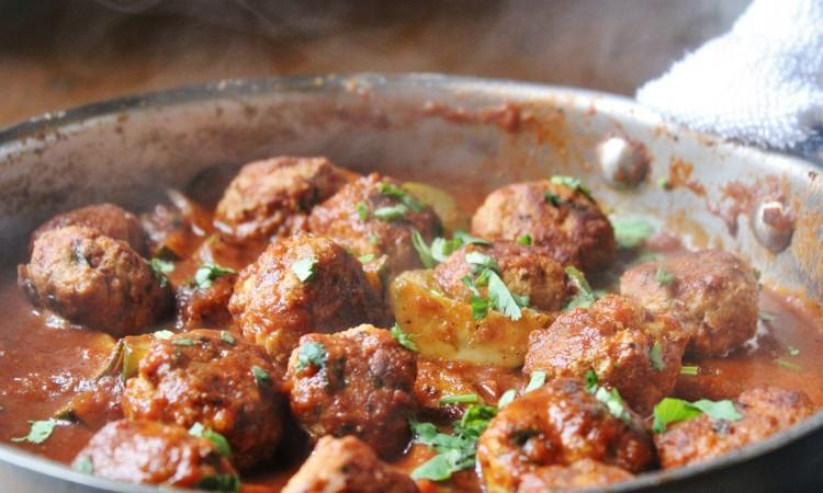 braised turkey meatballs waiting for their cauliflower