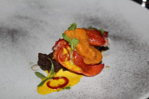 Butter-poached lobster with onion ash